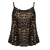 Tantisy ♣↭♣ Camisole Tank Top ✿ Fashion Womens Sling Tank Leopard Printed Sleeveless O-Neck Blouse Soft Comfortable Top Brown