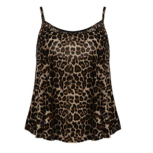 Tantisy ♣↭♣ Camisole Tank Top ✿ Fashion Womens Sling Tank Leopard Printed Sleeveless O-Neck Blouse Soft Comfortable Top Brown by Tantisy ♣↭♣ (Image #6)