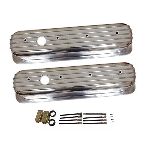 - Finned Tall Polished Aluminum Valve Covers Center Bolt for SBC Chevy