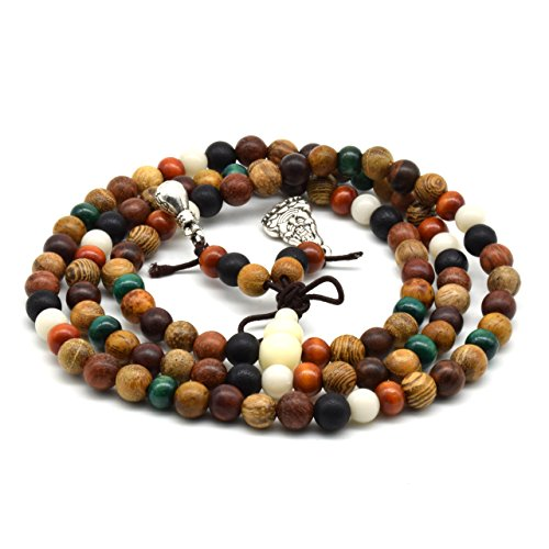 ral Colorful Wood Buddhist Prayer Beads Bracelet Necklace Tibetan Mala Prayer Beads (6mm 108beads) (Delicate Rosary Necklace)