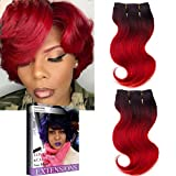 Bleaching Hair From Black To Red - Emmet Brazilian Hair Extension Ombre Color Can be Dyed and Permed Body Wave Easy Installing&Sewing 8Inch Short 7A 100% Human Hair Weave 2PCS/Lot 50g/Piece, with Hair Care Ebook (1B/RED)