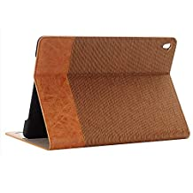 Jennyfly Air 2 iPad Case for Kids,Easy Viewing Slim Fit Duralble PU Leather Book Style Stand Protection Case Hard Cover with Card Slot for 9.7 inch iPad Air 2 - Light Brown