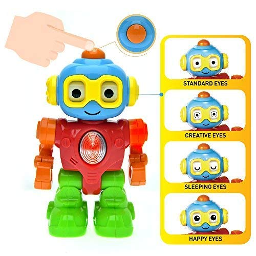 WEofferwhatYOUwant Robot Pretend Play for Baby and Toddler. Action Figure with Personalities with Push Button for Different Eye Mood -