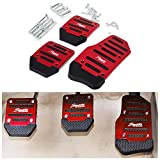 FLY5D 3 Pcs Manual Car Auto Non Slip Sports Aluminium Alloy Automatic Car Auto Vehicle Pedal Foot Treadle Foot Brake Cover Pad (Manual Car Pedals, Red)
