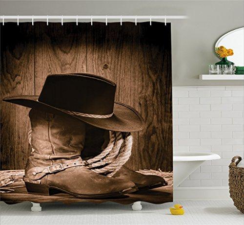 Western Curtain Ambesonne Ranching Bathroom