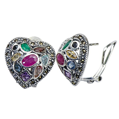 Lucky Rare Multi-Gemstone Heart Earrings 925 Silver Ruby Sapphire Amethyst