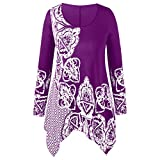 Fashion Women Plus Size O-Neck Folk-Custom Print Irregular Top Blouse T-Shirt