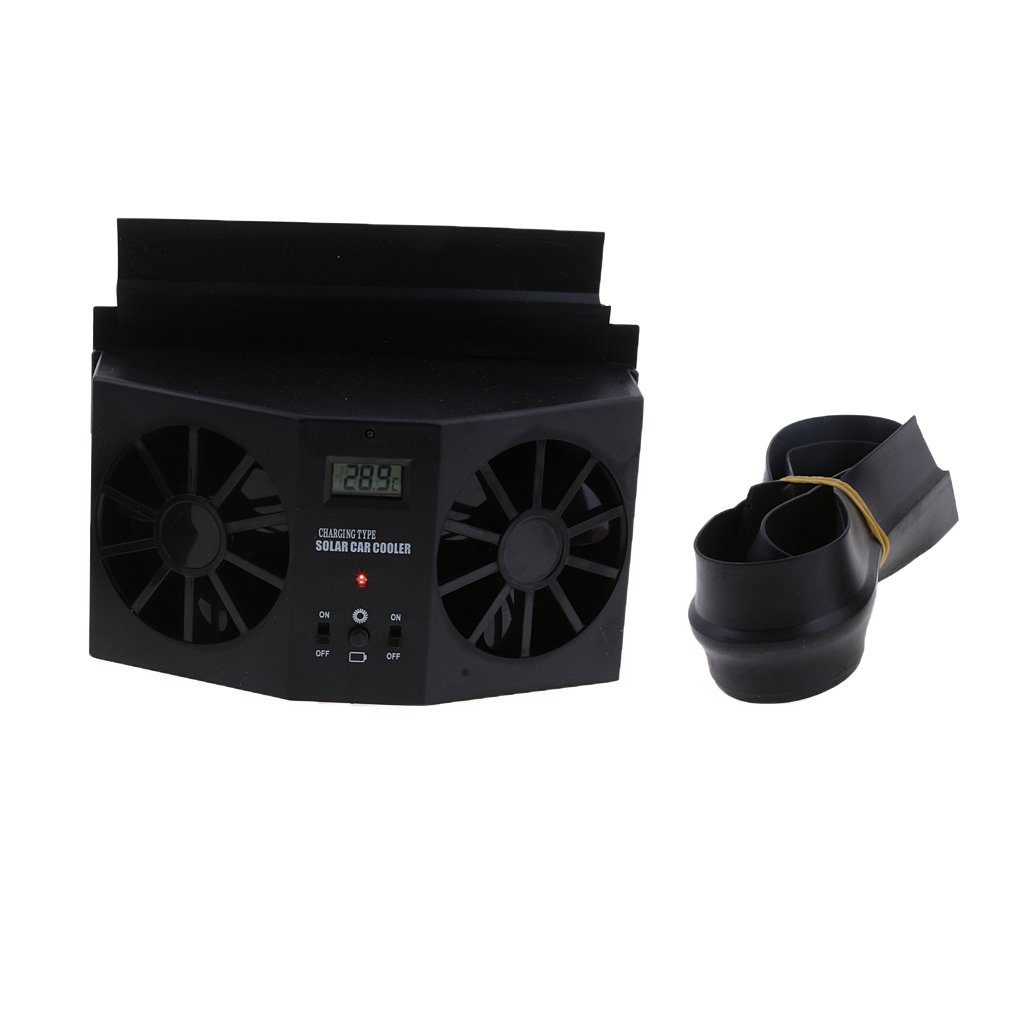 MagiDeal Solar Powered Car Air Vent Exhaust Fan Radiator Vent With Ventilation Black