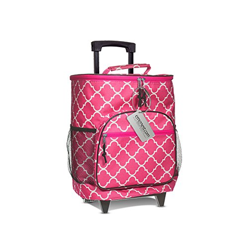 Insulated Rolling Cooler - Suitcase Style Large Picnic Basket on Wheels with Retractable Handle and Outside Pocket - 36 Can Capacity (Pink)