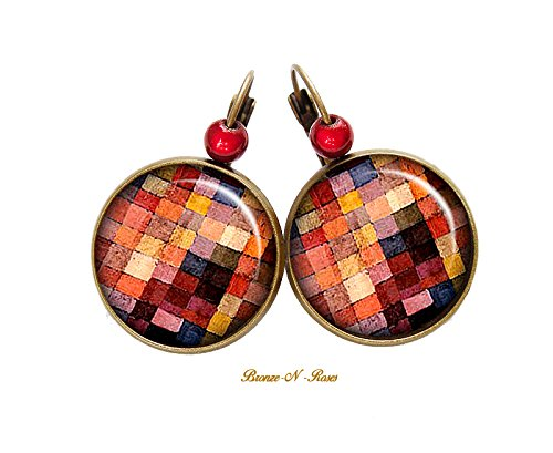 Boucles doreilles Peinture carreaux Klee cabochon bronze bijou paul tableau cadeau dormeuses bronze-n-roses