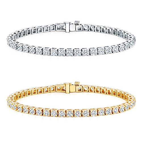 14k-Gold-Round-Cut-Diamond-Tennis-Link-Bracelets-4-Prong-1-12ct-15-cttw-J-K-Color-I2-I3-Clarity