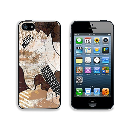 Liili Premium Apple iPhone 5 iphone 5S Aluminum Backplate Bumper Snap Case IMAGE ID 7482507 an electric guitar player on grunge background