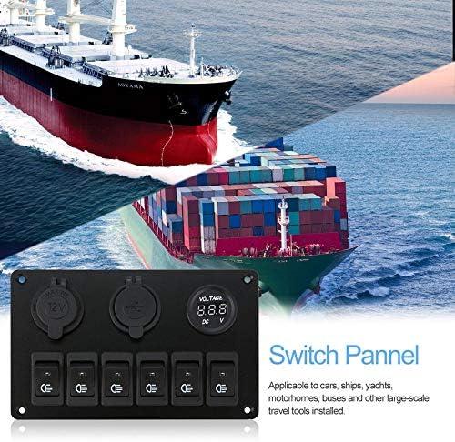 volt/ímetro para Auto o Barco Peanutaoc Barco Panel de Interruptor basculante para Coche con 6 enchufes LED para Encendedor de Cigarrillos Panel de interruptores LED