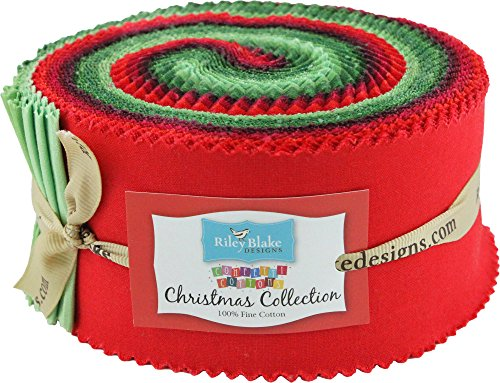 (Confetti Cottons Christmas Rolie Polie 40 2.5-inch Strips Jelly Roll Riley Blake Designs)