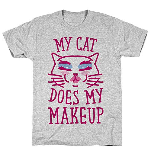 LookHUMAN My Cat Does My Makeup Small Athletic Gray Men's Cotton Tee]()