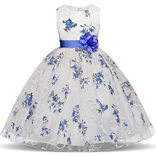 TTYAOVO Girls Flower Printing Chiffon Princess Wedding Party Holiday Dresses Size 4-5 Years Blue ()