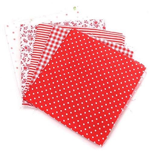 Paños 5pcs 25x20cm Serie Roja Algodón de costura Tela ...