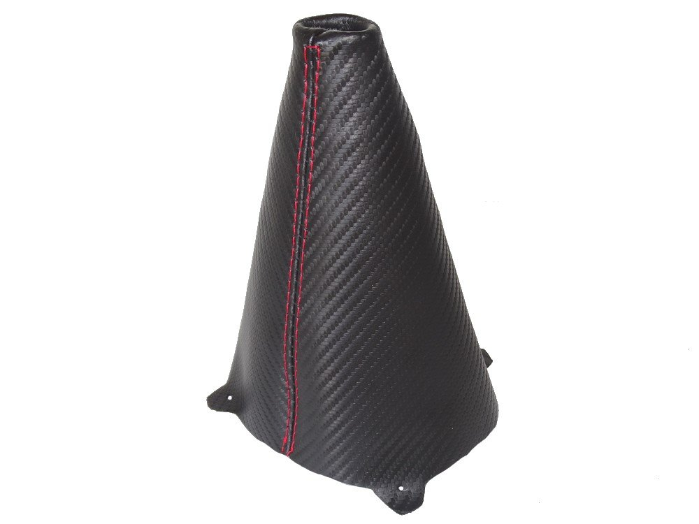 Gear Stick Gaiter Black Carbon Leather Red Stitching The Tuning-Shop Ltd