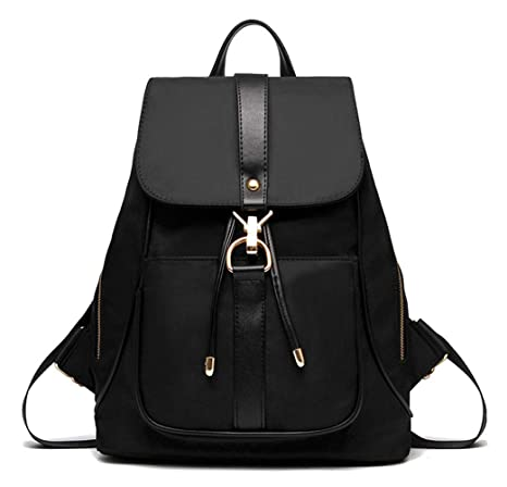 TIBES Mochila impermeable mochila de nylon de moda para las niñas Negro