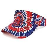 Trendy Apparel Shop Hippy Tie Dye Printed Colorful Cool Summer Visor Cap - Red Royal