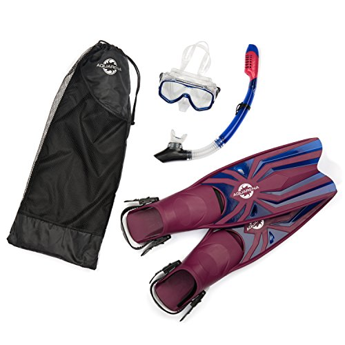 Aquarena Snorkel Set with Fins, Dry Top Snorkel, Adjustable Tempered Diving Mask, Mesh Gear Bag for Full Snorkeling, Scuba, Freedive, Spearfishing Experience, Premium Adult Snorkeling Set Gear for Men