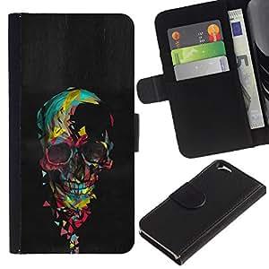 KingStore / Leather Etui en cuir / Apple Iphone 6 / Acuarela del cráneo de la pintura al óleo Negro