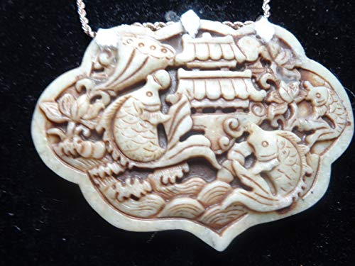 COLLECTIBLE CARP CARVING: Vintage Allegory Carving of Three Carp Jumping Over Dragon's Gate, Master Carving, Off White Jade, Sterling ()