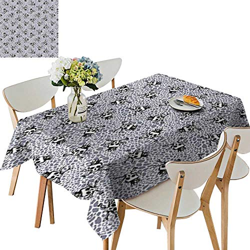 UHOO2018 Printed Fabric Tablecloth Square/Rectangle Crowned Skull Crossbones llustration Against Animal Print Pattern Wedding Party Restaurant,23 x 23inch