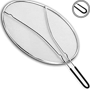 """Splatter Screen 13"""" - Double Layered Fine Mesh Splash Guard, Silicone Stay-Cool Handle - Safe & Clean Cooking or Frying!"""