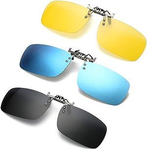 3 PACK, Clip on Flip up Polarized Lens For Prescription Glasses, UV Protection Sunglasses Over RX Eyeglasses