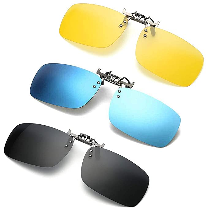 f62edf83aaa0 3 PACK, Clip on Flip up Polarized Sunglasses, UV Protection Lens For Prescription  Glasses