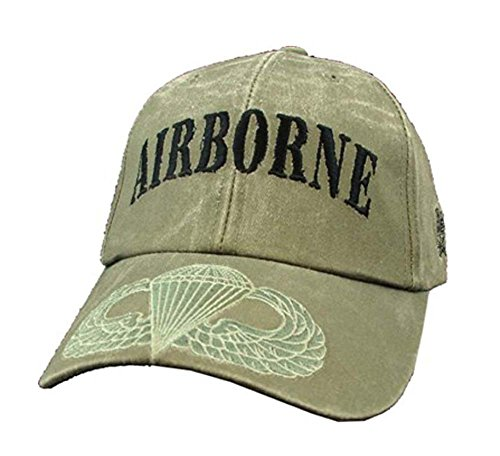 US Army OD Green Airborne Jump Wings Ball Cap