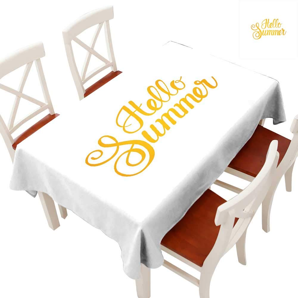 """Anyangeight Hello Summer Elegance Engineered Christmas Tablecloth Hello Summer Phrase Print in Zesty Yellow Hand Lettering Calligraphic Design Patterns Tablecloths for Kitchen Earth Yellow 60"""" × 84"""""""