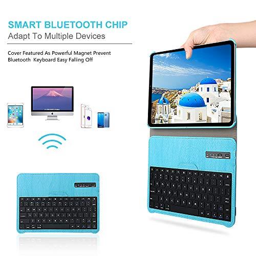 iPad 11 Keyboard Case for 2018 iPad Pro, Dingrich 360 Rotation Leather Case with Keyboard for iPad Pro 11 inch, [Support Apple Pencil Charging],Detachable Bluetooth Keyboard, Blue