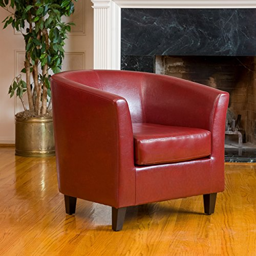 Christopher Knight Home 219877 Preston Oxblood Bonded Leather Tub Club Chair, Red