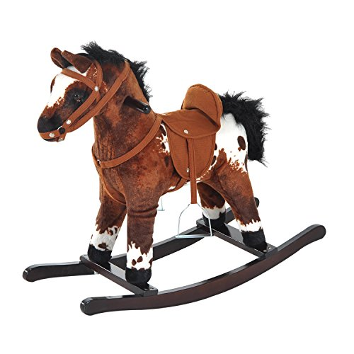 Brown Rocking Horse - Qaba Kids Metal Plush Ride-On Rocking Horse Chair Toy with Realistic Sounds - Light Brown / White