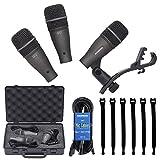 Samson DK703 3-Piece Drum Microphone Kit + Samson 18' Mic Cable (3 pack) MC18 + Op/Tech Strapeez, Black - Valued Accessory Bundle
