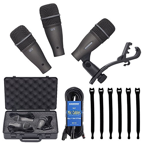 (Samson DK703 3-Piece Drum Microphone Kit 18' Mic Cable (3 Pack) MC18 + Op/Tech Strapeez, Black - Valued Accessory Bundle)