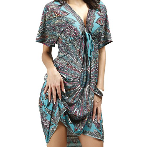 NEOSAN Womens Beach Cover Up Oversized Printed Swim Bikini Pool Wear Tunic A