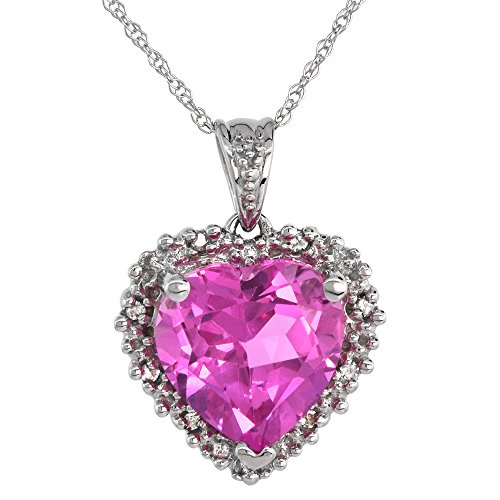 10k White Gold Created Pink Sapphire Heart Necklace Diamond Halo 9/16 inch 18 inch thin Chain