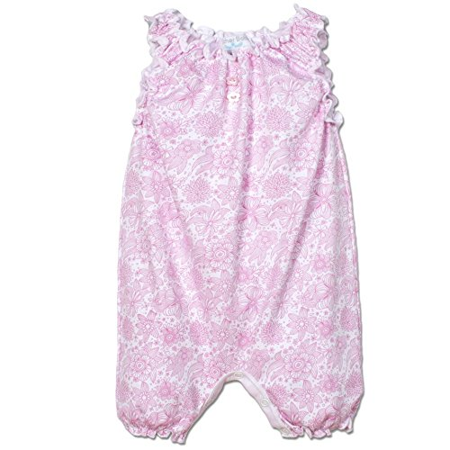 Feather Baby Girls Clothes Pima Cotton Sleeveless One-Piece Sunsuit Bubble Shortie Baby Romper, 3-6 Months, Chloe's Floral in Hot Pink ()