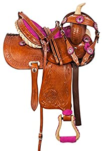 AceRugs 10 12 13 Pink Crystal Premium Leather Western Pleasure Trail Show Youth Kids Barrel Racing Pony Saddle TACK Set