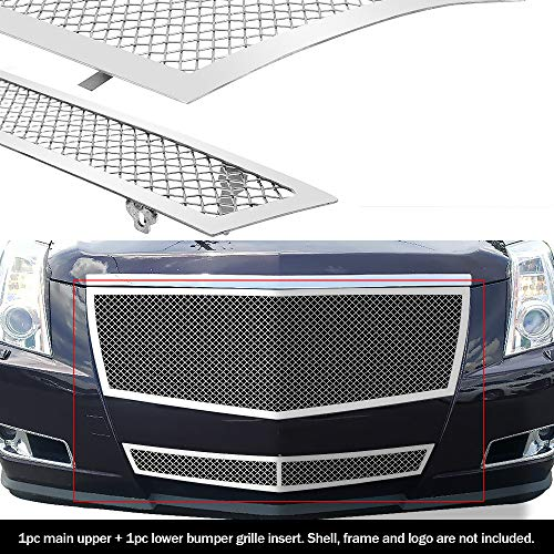 (APS Fits 2008-2013 Cadillac CTS Stainless Steel Mesh Grille Grill Insert Combo # A77768T)