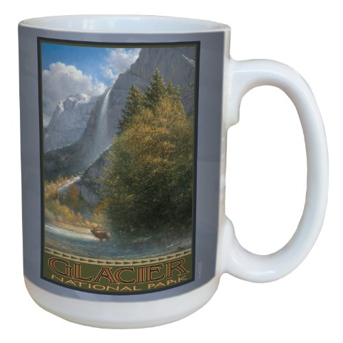 - Tree-Free Greetings lm43055 Scenic Glacier National Park Vista with Elk by Jack Terry Ceramic Mug with Full-Sized Handle, 15-Ounce, Multicolored