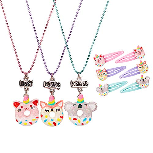 Wenhui's Wisdom Product Necklace for Little Girls - BFF Necklace for 3 - Best Friends Unicorn Donut Necklaces - 3 Pack