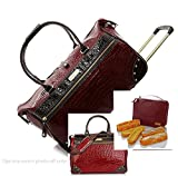 Samantha Brown Classic Weekender Set + Wheeled Weekender ,Dowel Bag Plus Extras~Burgundy