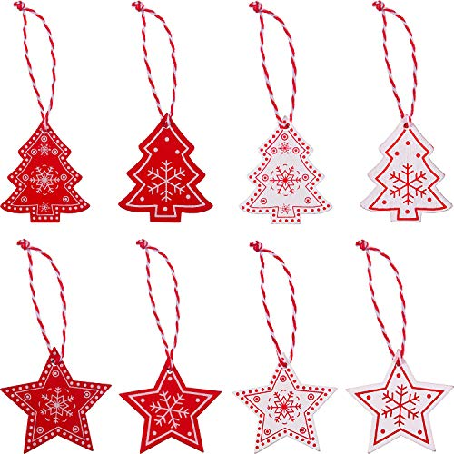 Jovitec 32 Pieces Christmas Tree Decorations Wooden Hangings Ornaments Christmas Gift Tags, Snow and Star Presents Decoration for Birthday, Wedding and Valentine's Day Gift Accessories ()