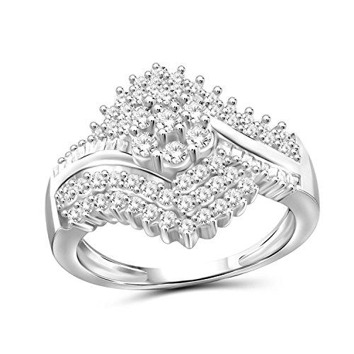 1.00 Carat T.W. White Diamond Sterling Silver Cluster Byepass Ring (Diamond Cluster)
