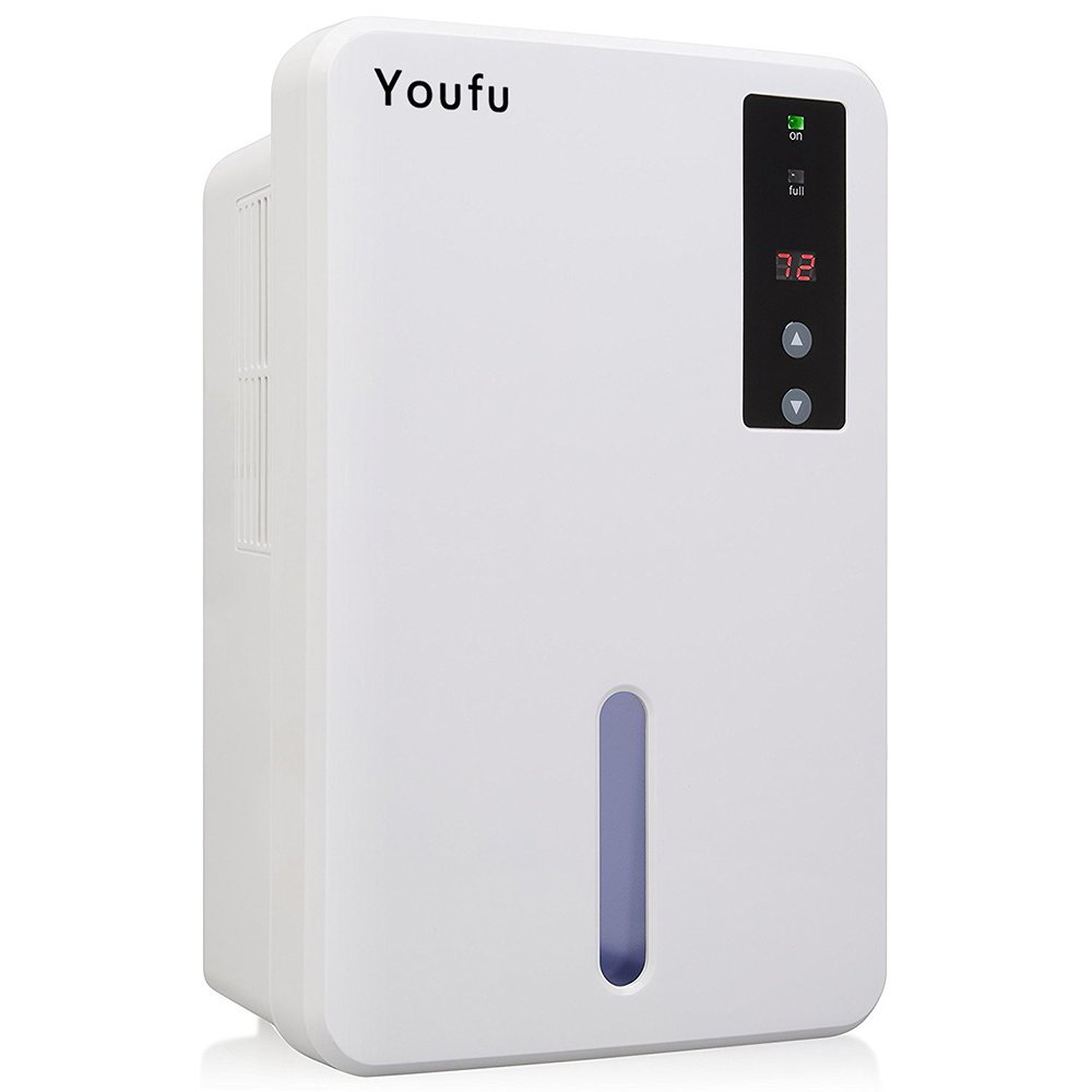 YouFu Small-Size Home Dehumidifier with Auto Humidistat - Sleeping Mode & Touch Panel Control-Great For bedrooms, bathrooms, RV, Laundry or basements Approx 1200 Cubic Feet
