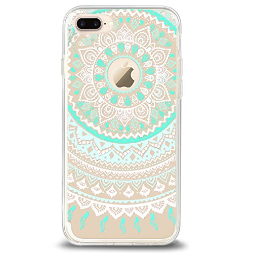 Ailun Phone Case Compatible with iPhone 8 Plus 7 Plus,Solid Acrylic Back&Reinforced Soft Clear TPU Frame,Ultra-Slim,Shock Absorption Bumper,Anti-Scratch Cover[Mandala MintGreen]